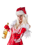 Attractive Mrs. Santa with champagne Royalty Free Stock Image