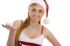 Attractive Mrs. Santa with a gift box. Royalty Free Stock Photos