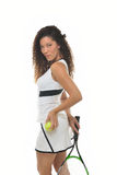 Attractive multi ehtnic female tennis player Royalty Free Stock Images