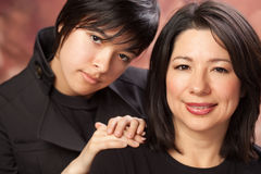 Attractive Multiethnic Mother and Daughter stock photos