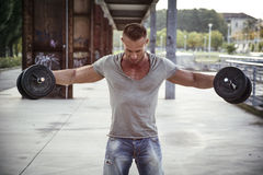 Attractive Muscular Hunk Man Lifting Weights Outdoor Royalty Free Stock Image