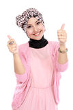 Attractive muslim woman giving thumbs up Royalty Free Stock Photo
