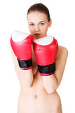 Attractive naked woman with boxing gloves. Royalty Free Stock Photos