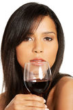 Attractive naked woman with glass of wine. Closeup. Stock Photography
