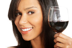 Attractive naked woman with glass of wine. Closeup. Royalty Free Stock Photography