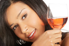 Attractive naked woman with glass of wine. Royalty Free Stock Images