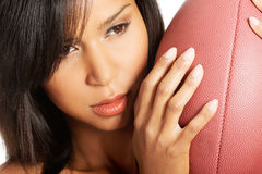 Attractive naked woman holding a ball. Closeup. Stock Images