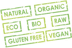 Attractive natural organic stylish green design vegan stamp collage Stock Photos