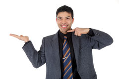 Attractive Nepalese businessman, pointing Stock Photo