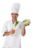 Attractive nepalese chef male, leek Royalty Free Stock Images