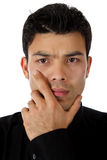 Attractive nepalese man, thoughts Stock Photography