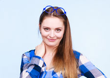 Attractive nerdy woman in weird glasses on head Royalty Free Stock Photos