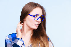 Attractive nerdy woman in weird glasses Stock Images