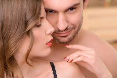 Attractive nude  woman embracing with man Stock Photo