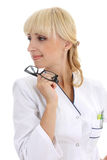 Attractive nurse with glasses Royalty Free Stock Images