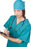 Attractive nurse in the studio. Medical personnel Royalty Free Stock Photography