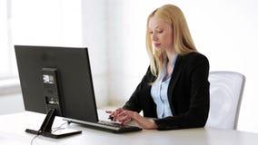 Attractive office worker stock video