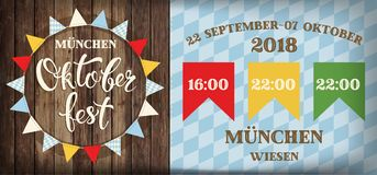 Attractive oktoberfest celebration Flags festival poster with refreshing beverage isolated on wooden plank, oktoberfest means beer Stock Photography