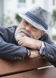 Attractive old man with beard and hat Stock Photos