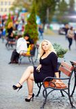 Attractive overweight woman in the city Royalty Free Stock Image