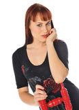 Attractive owman with a red chair Stock Image