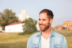 Attractive pensive guy royalty free stock images