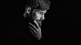 Attractive pensive young man looks into the distance stroking hi. Black and white image of attractive pensive young man looks into the distance stroking his Stock Photography