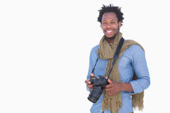 Attractive photographer holding camera Stock Photos