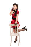 Attractive pin-up girl. Over white Royalty Free Stock Images