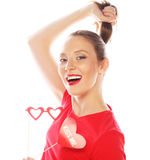 Attractive playful young woman. Ready for party. Royalty Free Stock Photo