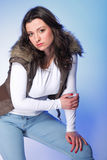 Attractive plus size model in casual clothes Royalty Free Stock Photos
