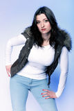 Attractive plus size model in casual clothes Royalty Free Stock Photo