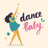 Body positive girl dancing. stock illustration