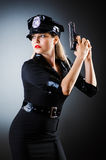 Attractive police office in dark stock images