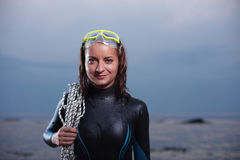 Attractive portrait of cheerful young diver woman Royalty Free Stock Photo