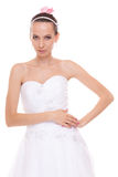 Attractive pretty bride in white wedding dress. Royalty Free Stock Image