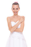 Attractive pretty bride in white wedding dress. Royalty Free Stock Photography
