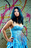 Attractive pretty girl in blue dress Royalty Free Stock Image
