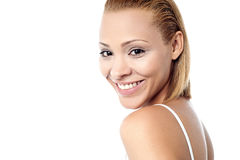 Attractive pretty italian female model. Cheerful young female model facing the camera Stock Images
