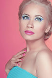 Attractive pretty woman with professional make up. Makeover. Bea Royalty Free Stock Image