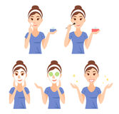 Attractive pretty young woman dressed in casual t-shirt care her face and skin, using cream and applying natural mask. Facial treatment procedures, skincare stock illustration