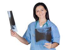 Attractive radiologist look radiograph Stock Image