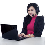 Attractive receptionist with laptop Royalty Free Stock Image
