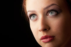 Attractive red hair girl blue eyed closeup Stock Image