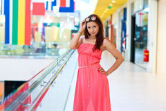 Attractive red hair woman in fashion dress Stock Images