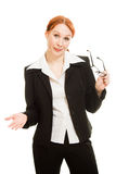 Attractive red-haired  business woman in glasses Stock Photo