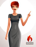 Attractive red-haired female pointing her finger at something to side. Empty copy space. Beautiful Caucasian lady illustration, full body portrait of sexy girl Stock Image