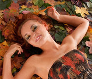 An attractive redhead girl in an autumn dress Royalty Free Stock Photo