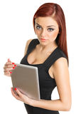 Attractive redhead woman with freckles holding digital tablet Stock Photography