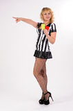 Attractive referee showing yellow card Royalty Free Stock Photography